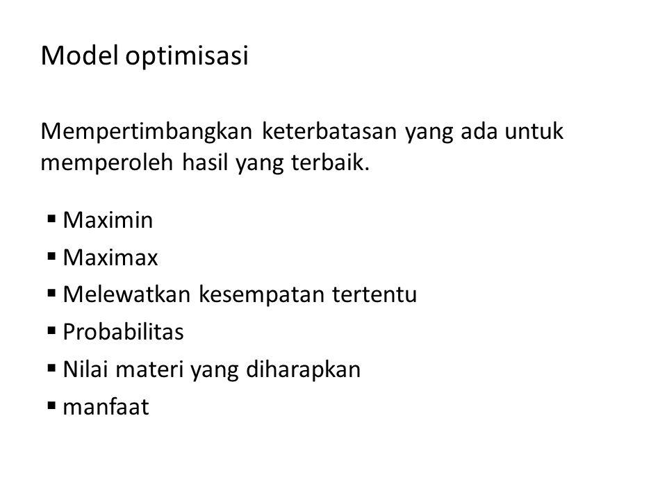 Model optimisasi Mempertimbangkan keterbatasan yang ada untuk memperoleh hasil yang terbaik. Maximin.