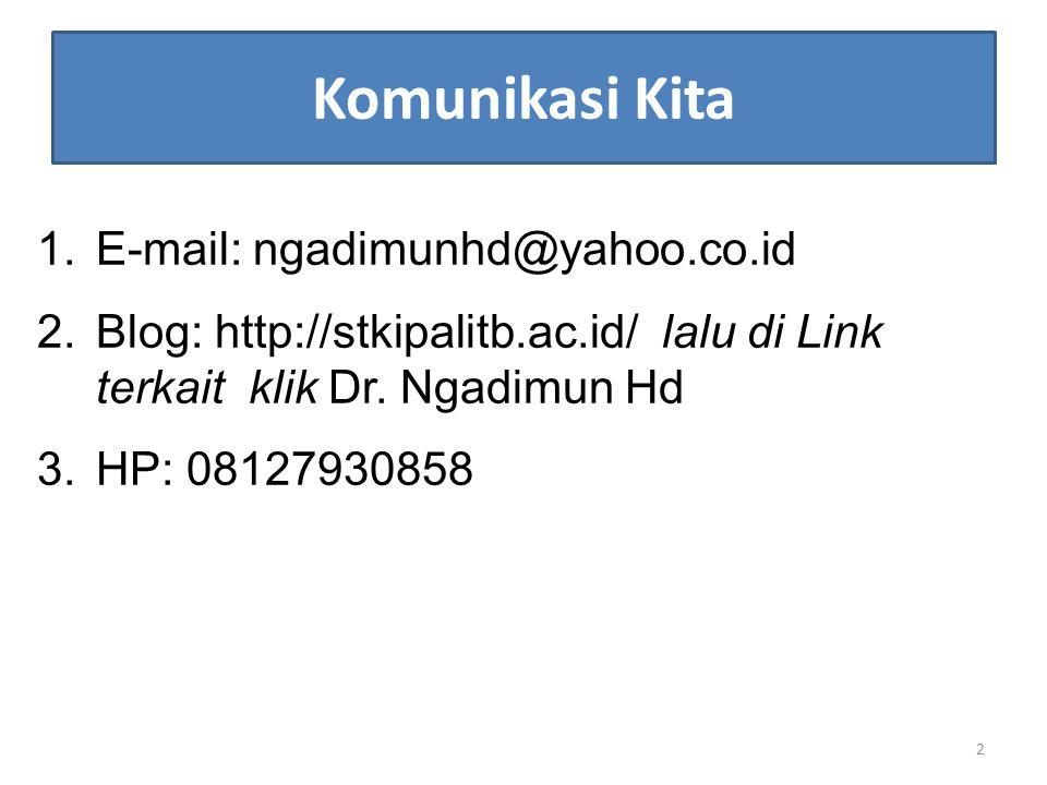 Komunikasi Kita E-mail: ngadimunhd@yahoo.co.id