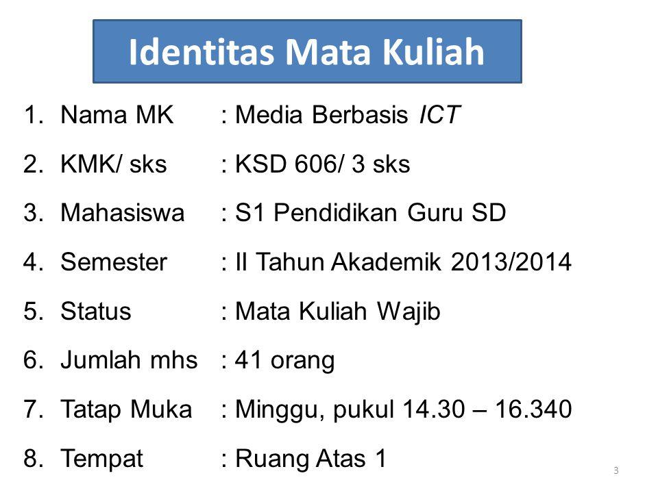 Identitas Mata Kuliah Nama MK : Media Berbasis ICT