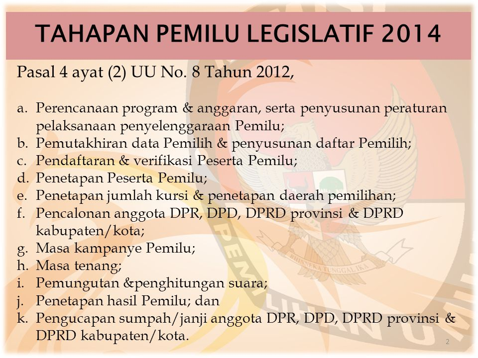 TAHAPAN PEMILU LEGISLATIF 2014