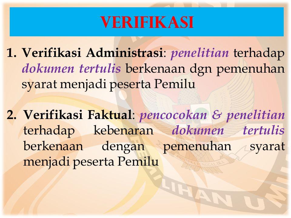 VERIFIKASI Verifikasi Administrasi: penelitian terhadap dokumen tertulis berkenaan dgn pemenuhan syarat menjadi peserta Pemilu.