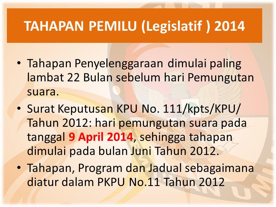 TAHAPAN PEMILU (Legislatif ) 2014