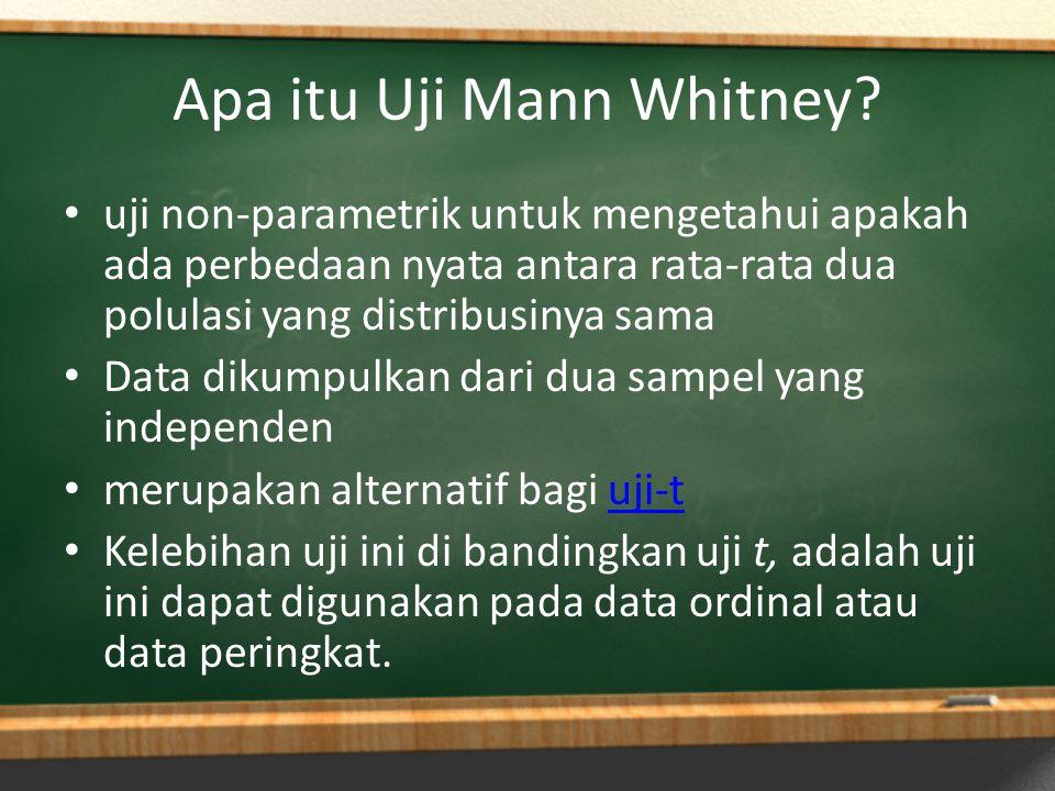Apa itu Uji Mann Whitney