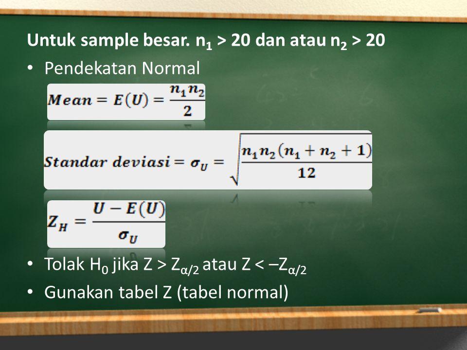 Untuk sample besar. n1 > 20 dan atau n2 > 20