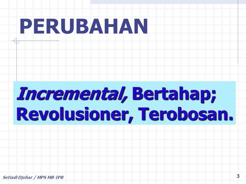 PERUBAHAN Incremental, Bertahap; Revolusioner, Terobosan.