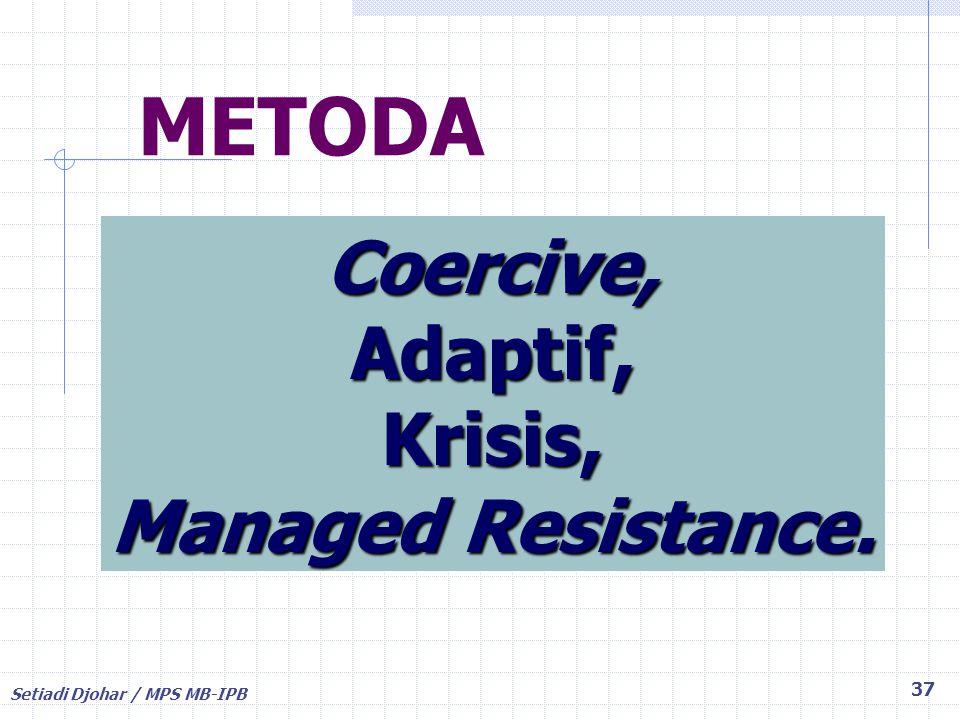METODA Coercive, Adaptif, Krisis, Managed Resistance.