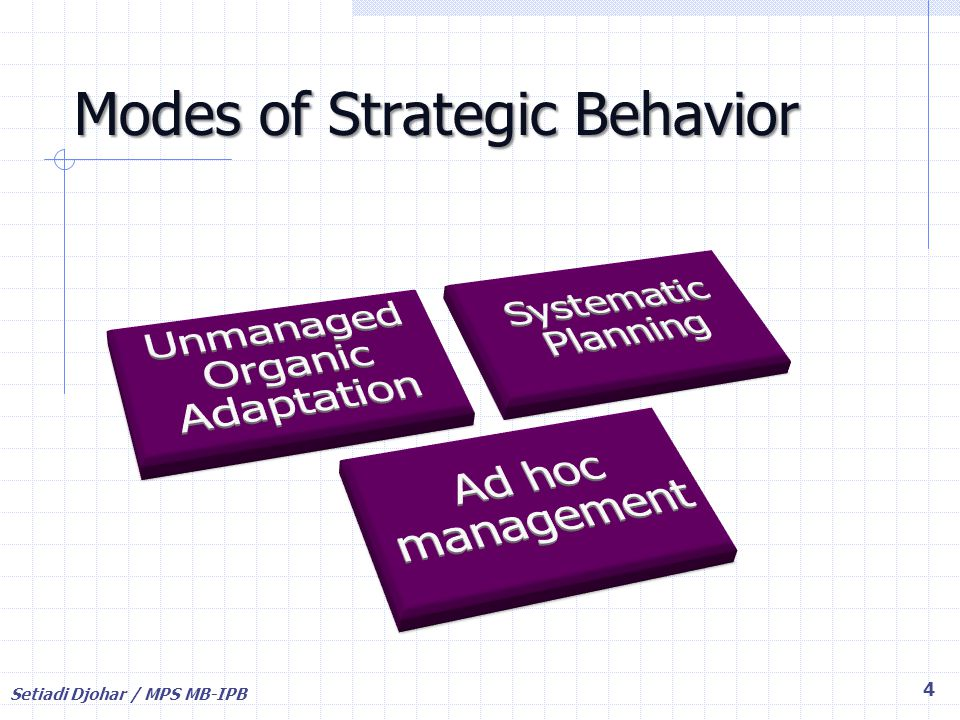 Modes of Strategic Behavior