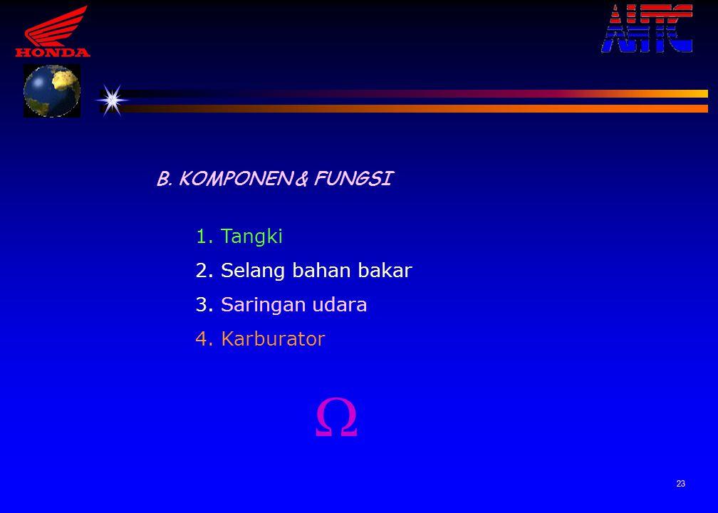  B. KOMPONEN & FUNGSI 1. Tangki 2. Selang bahan bakar