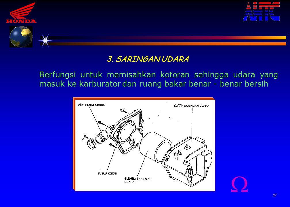 3. SARINGAN UDARA Berfungsi untuk memisahkan kotoran sehingga udara yang masuk ke karburator dan ruang bakar benar - benar bersih.