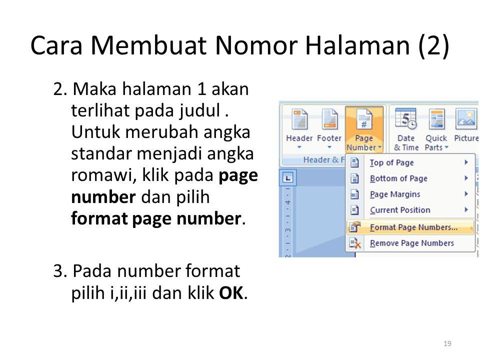 Cara Membuat Nomor Halaman (2)