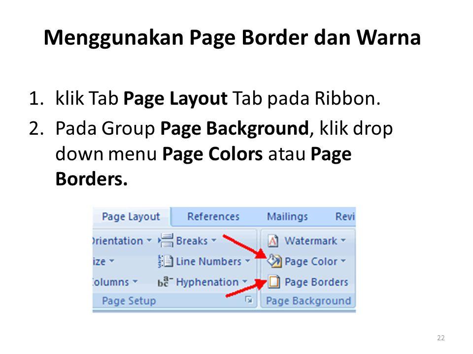 Menggunakan Page Border dan Warna