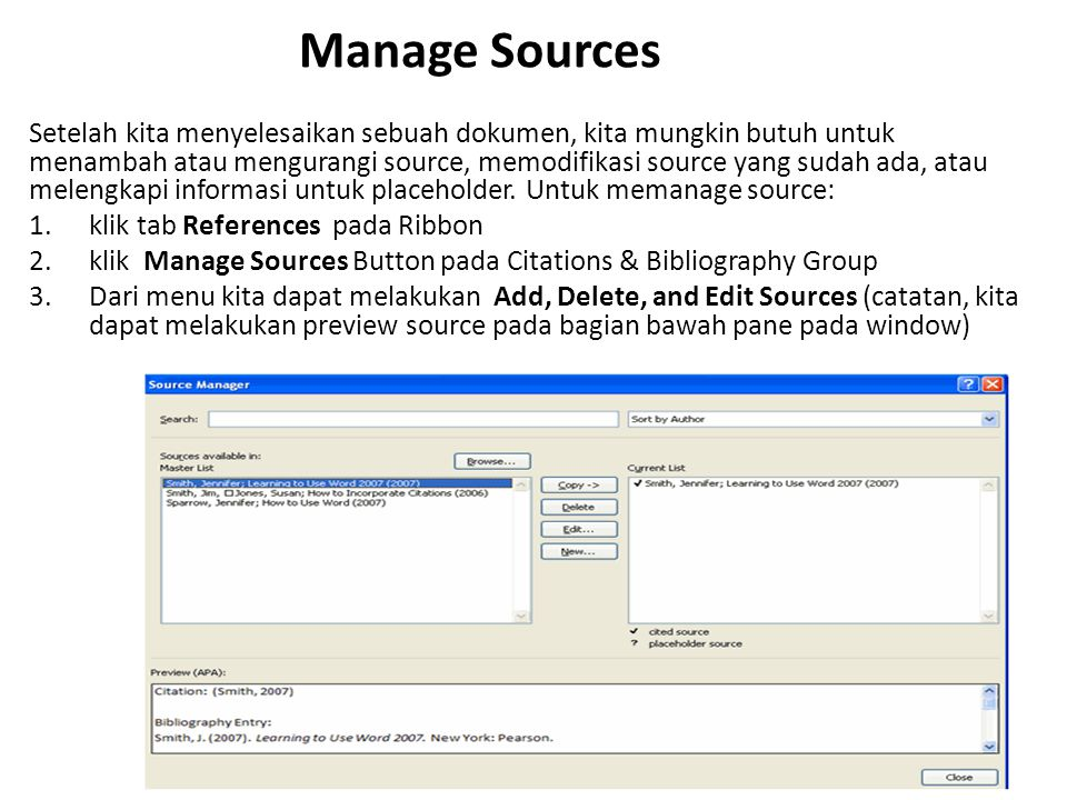Manage Sources