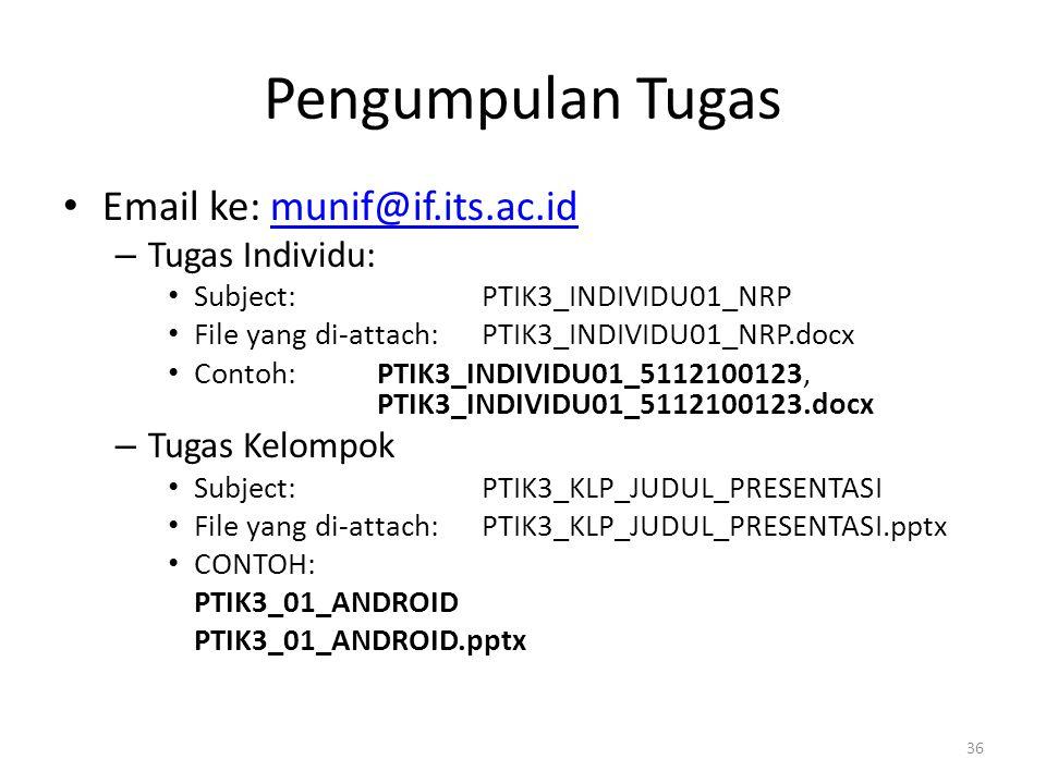 Pengumpulan Tugas Email ke: munif@if.its.ac.id Tugas Individu: