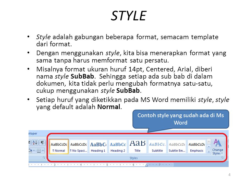 Contoh style yang sudah ada di Ms Word