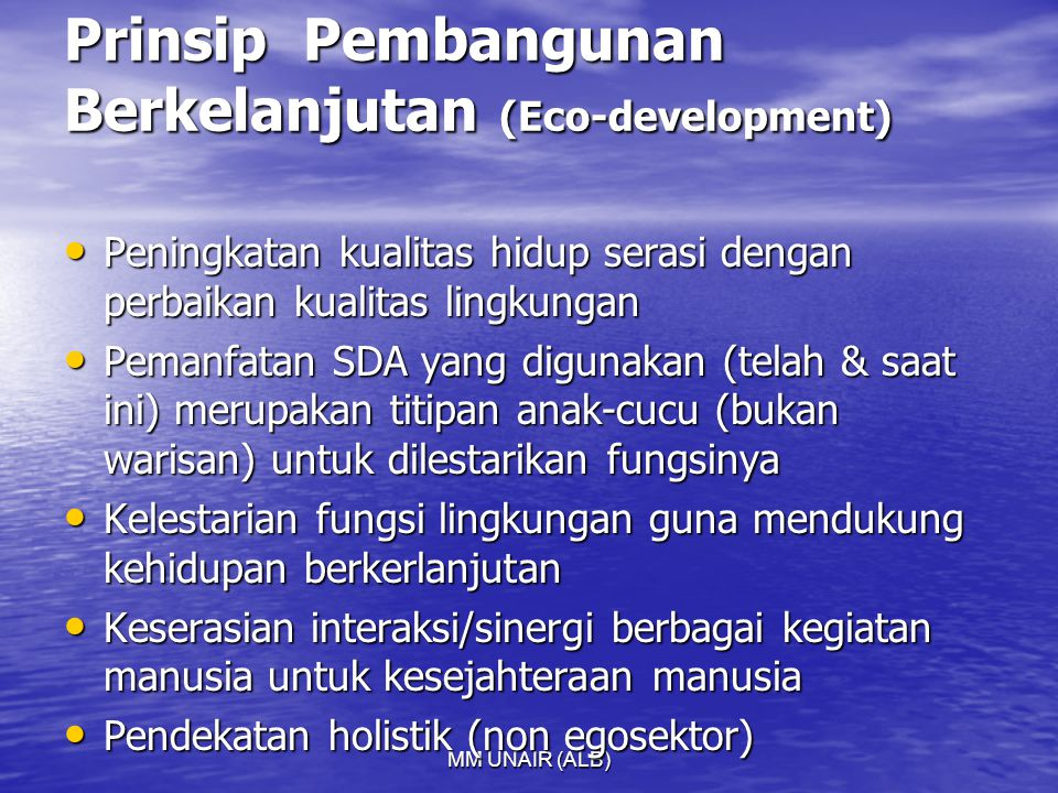 Prinsip Pembangunan Berkelanjutan (Eco-development)