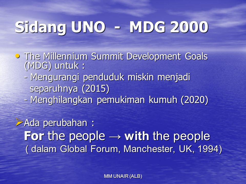 Sidang UNO - MDG 2000 The Millennium Summit Development Goals (MDG) untuk : - Mengurangi penduduk miskin menjadi.
