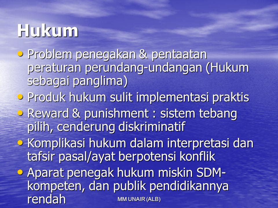 Hukum Problem penegakan & pentaatan peraturan perundang-undangan (Hukum sebagai panglima) Produk hukum sulit implementasi praktis.