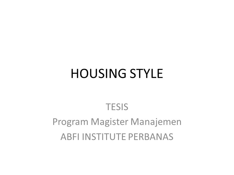 TESIS Program Magister Manajemen ABFI INSTITUTE PERBANAS