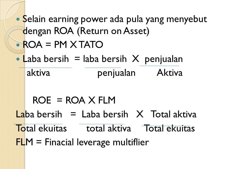 Selain earning power ada pula yang menyebut dengan ROA (Return on Asset)