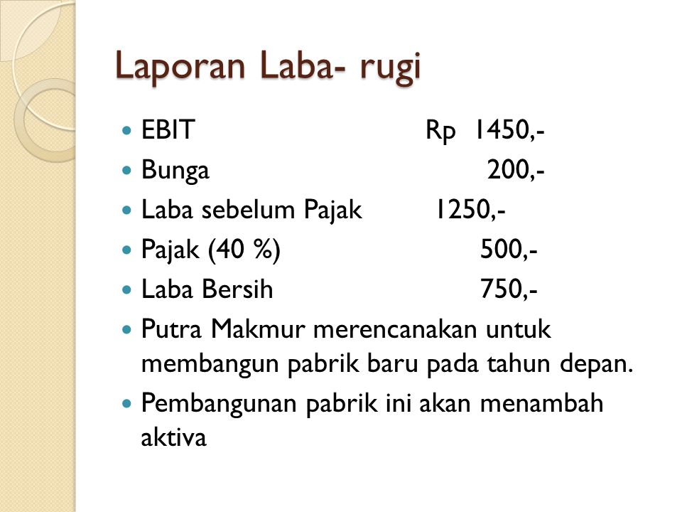 Laporan Laba- rugi EBIT Rp 1450,- Bunga 200,-