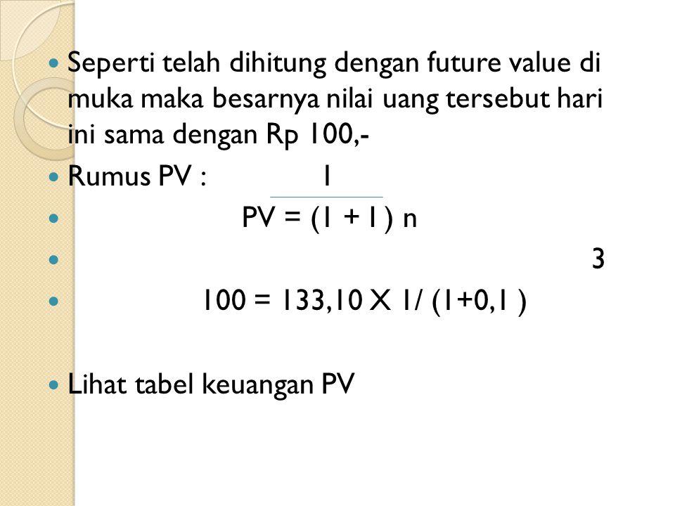 Seperti telah dihitung dengan future value di muka maka besarnya nilai uang tersebut hari ini sama dengan Rp 100,-