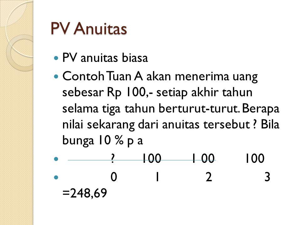 PV Anuitas PV anuitas biasa