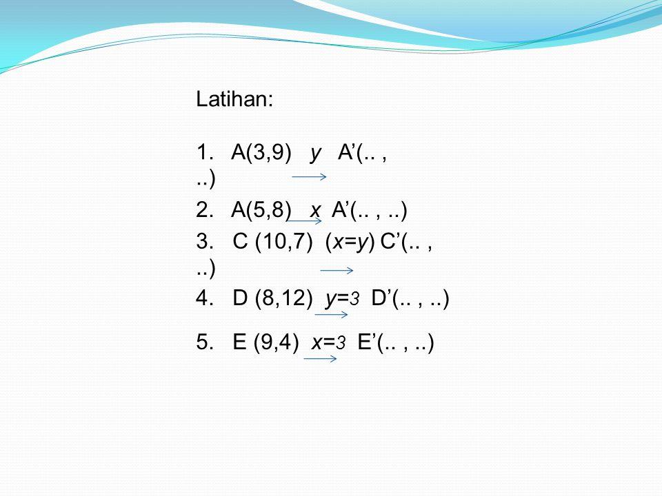 Latihan: 1. A(3,9) y A'(.. , ..) 2. A(5,8) x A'(.. , ..) 3. C (10,7) (x=y) C'(.. , ..)