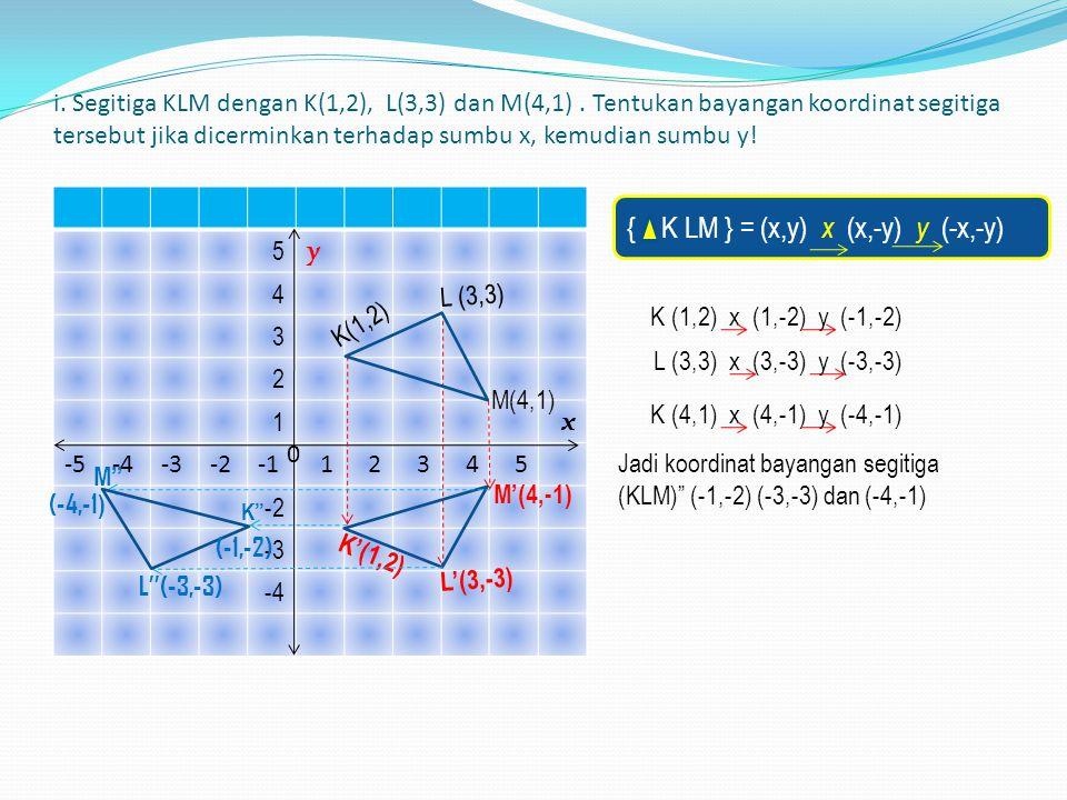 1.) { K LM } = (x,y) x (x,-y) y (-x,-y)