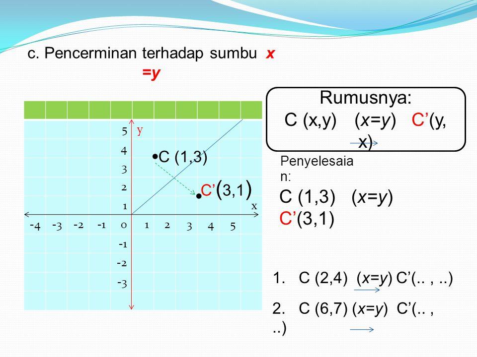 c. Pencerminan terhadap sumbu x =y