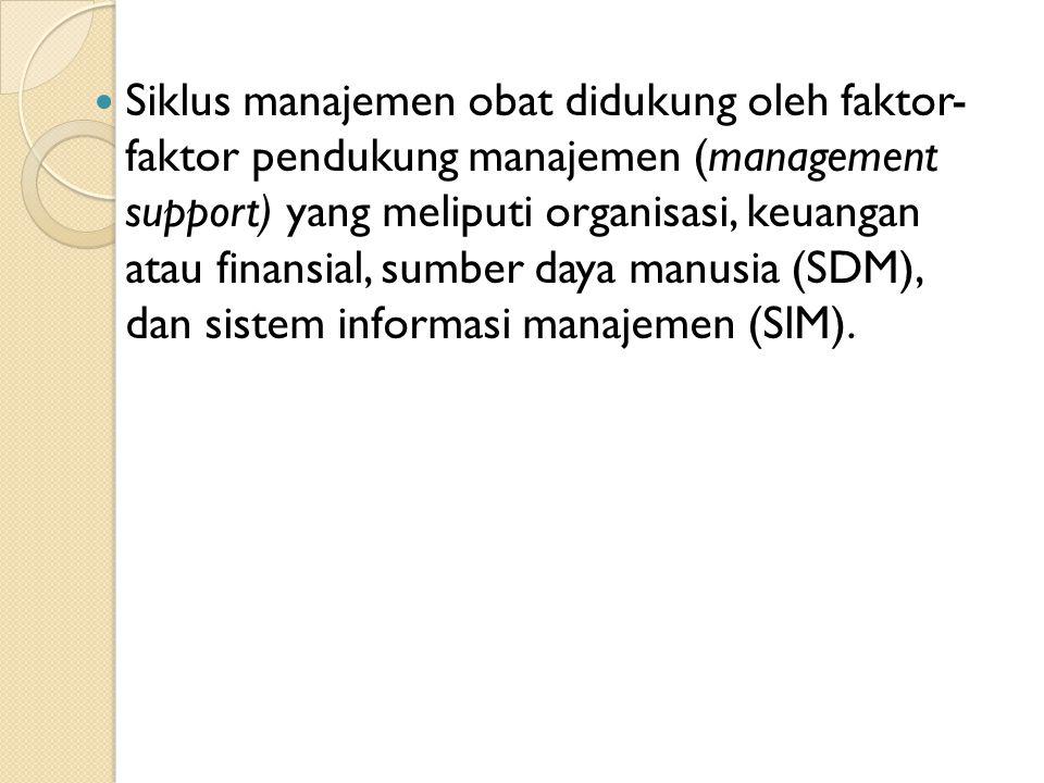 Siklus manajemen obat didukung oleh faktor- faktor pendukung manajemen (management support) yang meliputi organisasi, keuangan atau finansial, sumber daya manusia (SDM), dan sistem informasi manajemen (SlM).