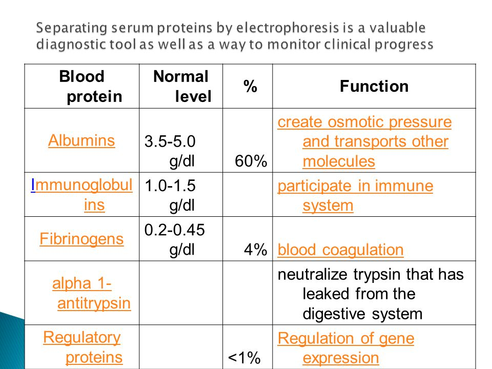 Blood protein Normal level % Function