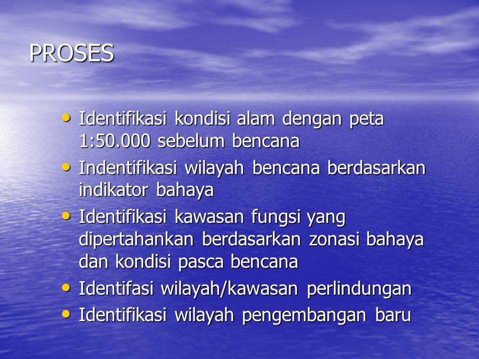PROSES Identifikasi kondisi alam dengan peta 1:50.000 sebelum bencana
