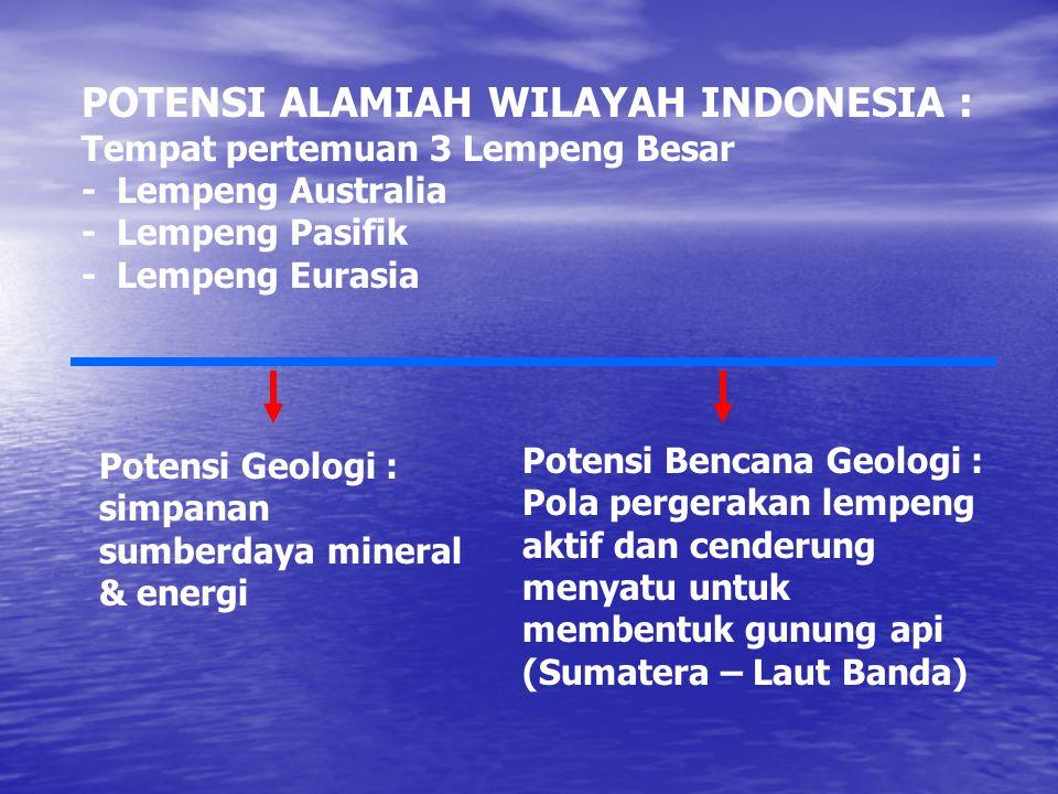 POTENSI ALAMIAH WILAYAH INDONESIA : Tempat pertemuan 3 Lempeng Besar - Lempeng Australia - Lempeng Pasifik - Lempeng Eurasia