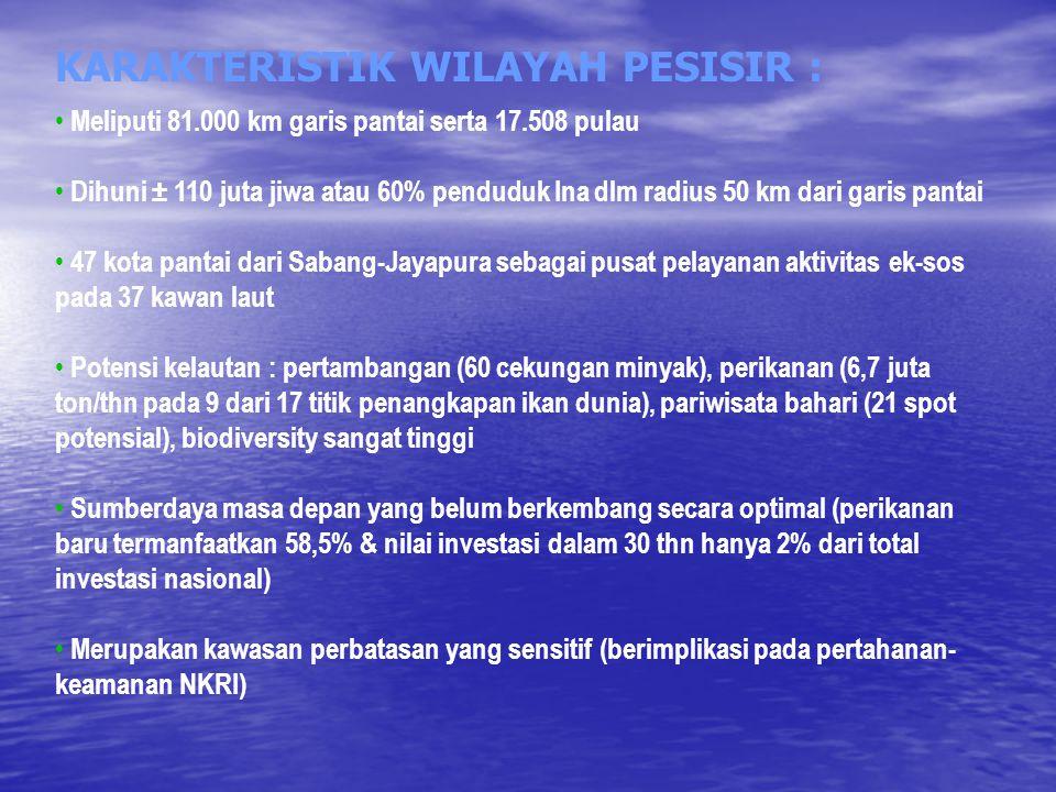 KARAKTERISTIK WILAYAH PESISIR :