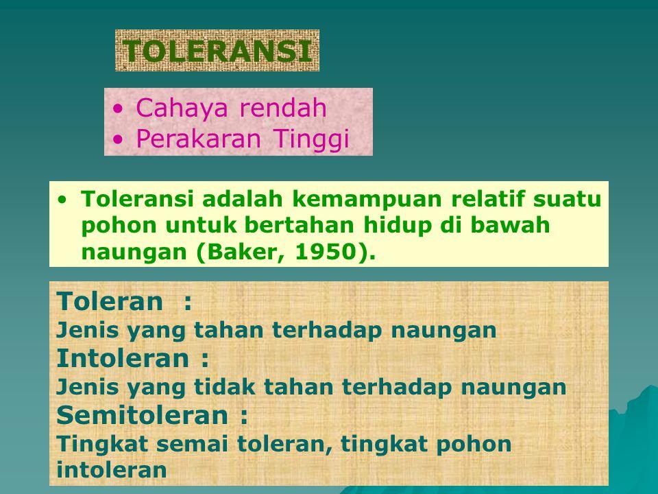 TOLERANSI Cahaya rendah Perakaran Tinggi Toleran : Intoleran :