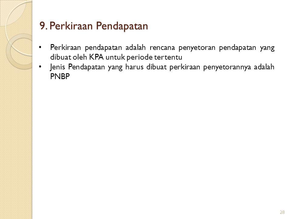 9. Perkiraan Pendapatan Perkiraan pendapatan adalah rencana penyetoran pendapatan yang dibuat oleh KPA untuk periode tertentu.