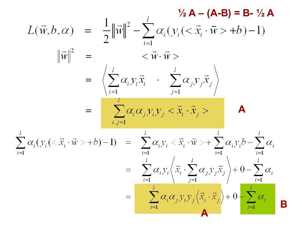 ½ A – (A-B) = B- ½ A A B A