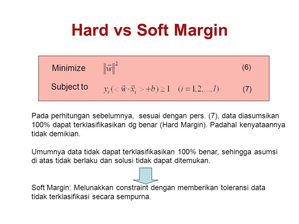 Hard vs Soft Margin Minimize Subject to (6) (7)