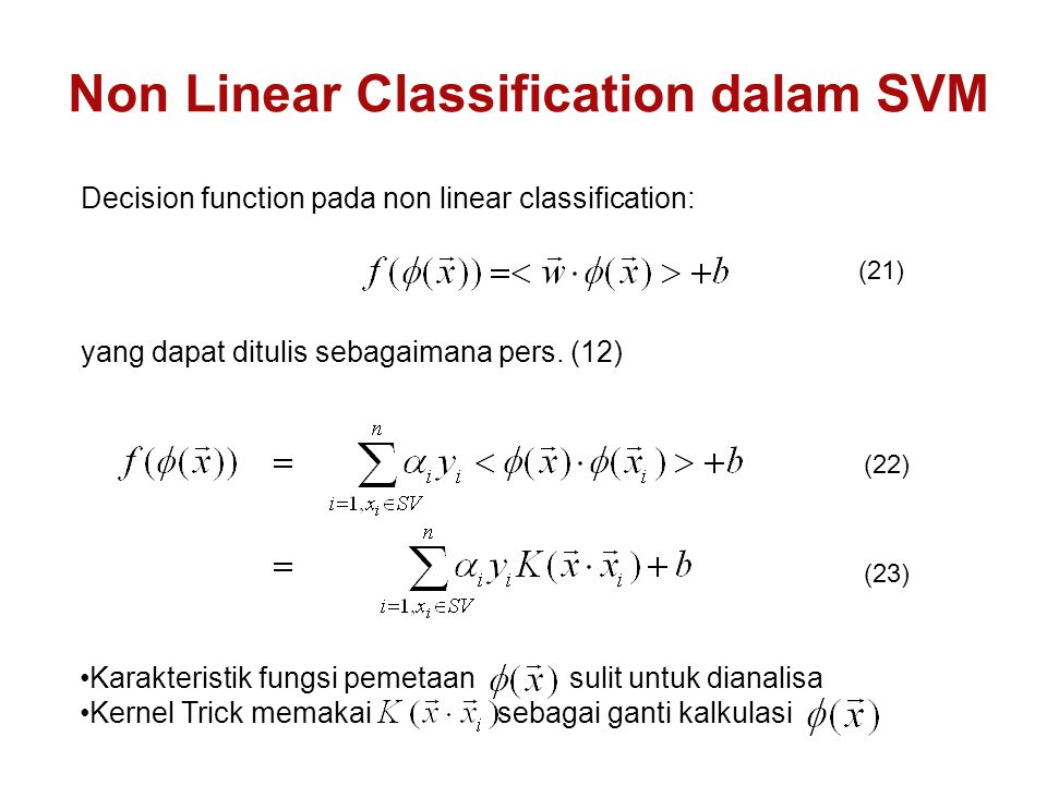Non Linear Classification dalam SVM