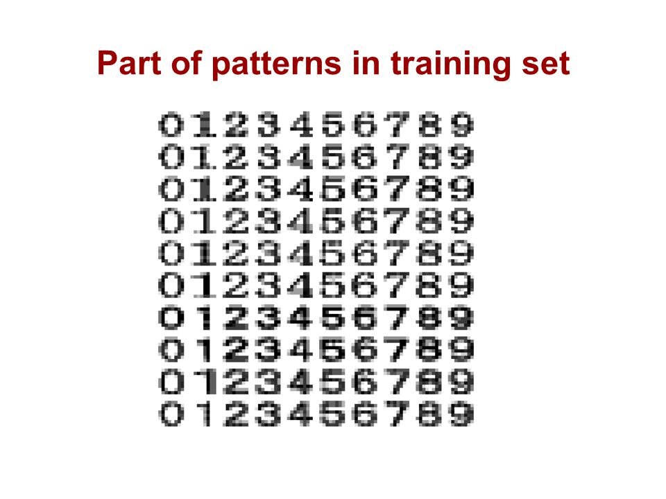 Part of patterns in training set