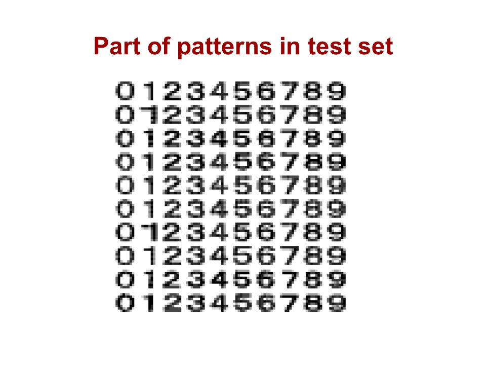 Part of patterns in test set