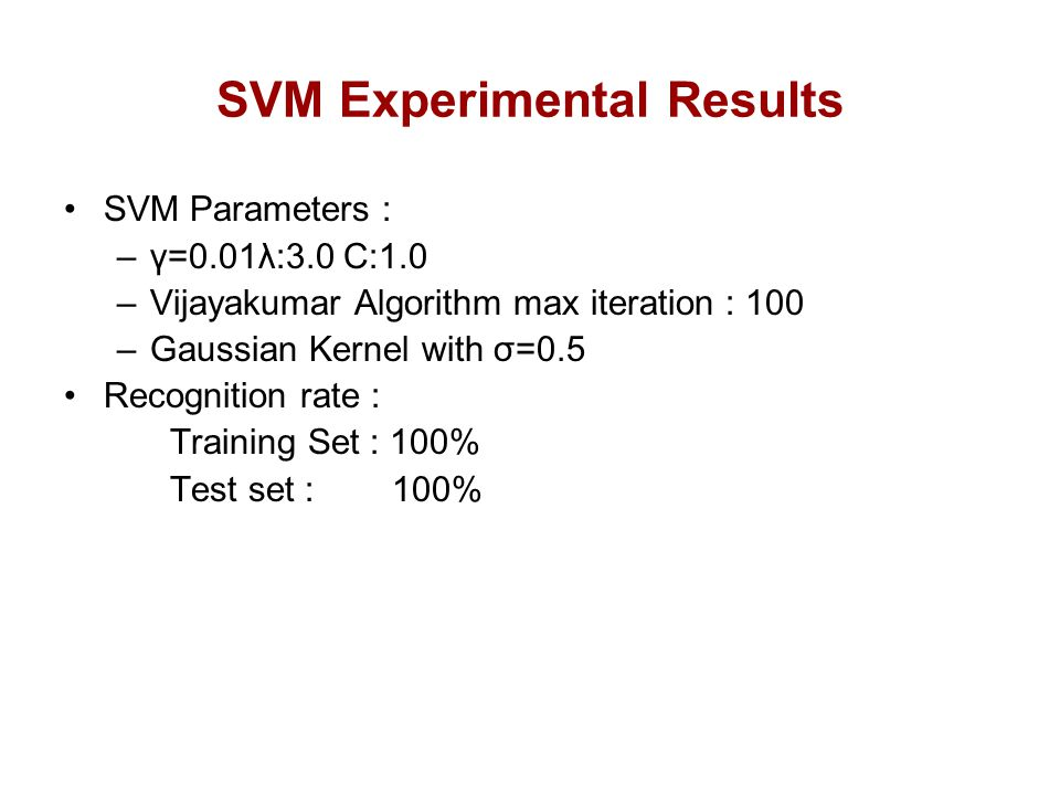 SVM Experimental Results