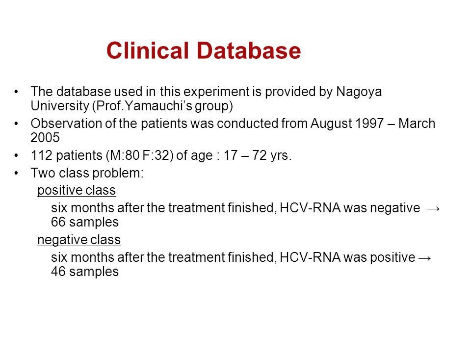 Clinical Database The database used in this experiment is provided by Nagoya University (Prof.Yamauchi's group)‏