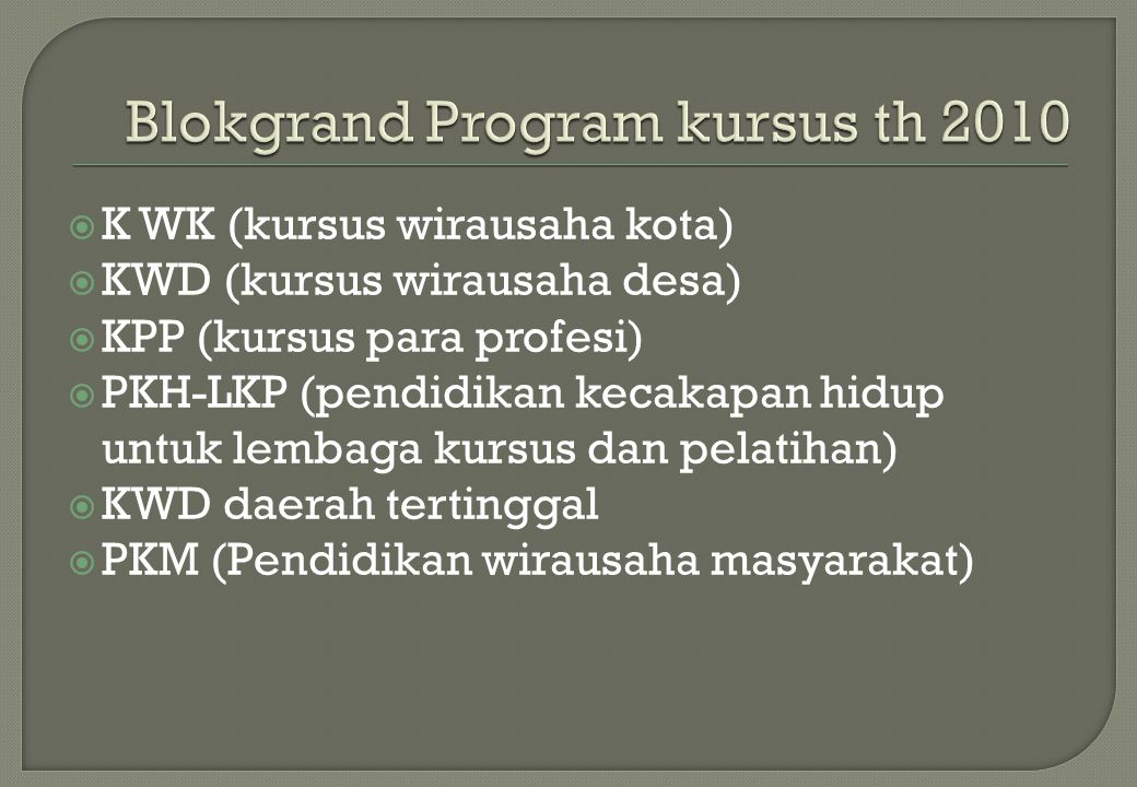Blokgrand Program kursus th 2010