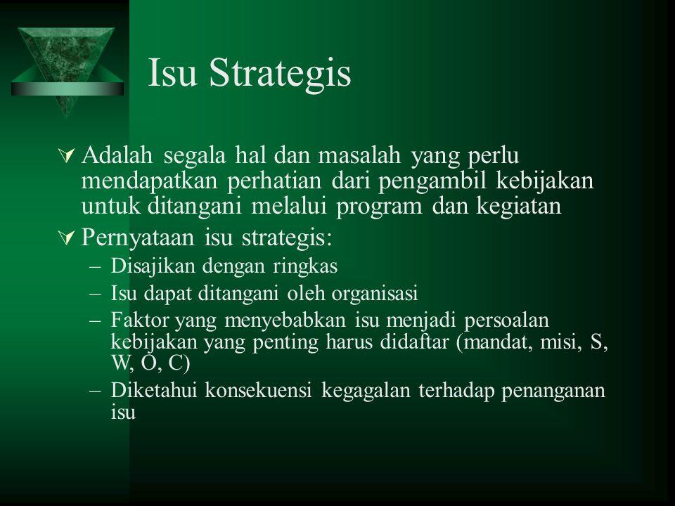 Isu Strategis Adalah segala hal dan masalah yang perlu mendapatkan perhatian dari pengambil kebijakan untuk ditangani melalui program dan kegiatan.