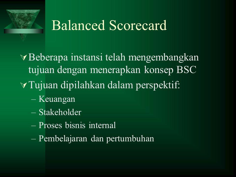 Balanced Scorecard Beberapa instansi telah mengembangkan tujuan dengan menerapkan konsep BSC. Tujuan dipilahkan dalam perspektif: