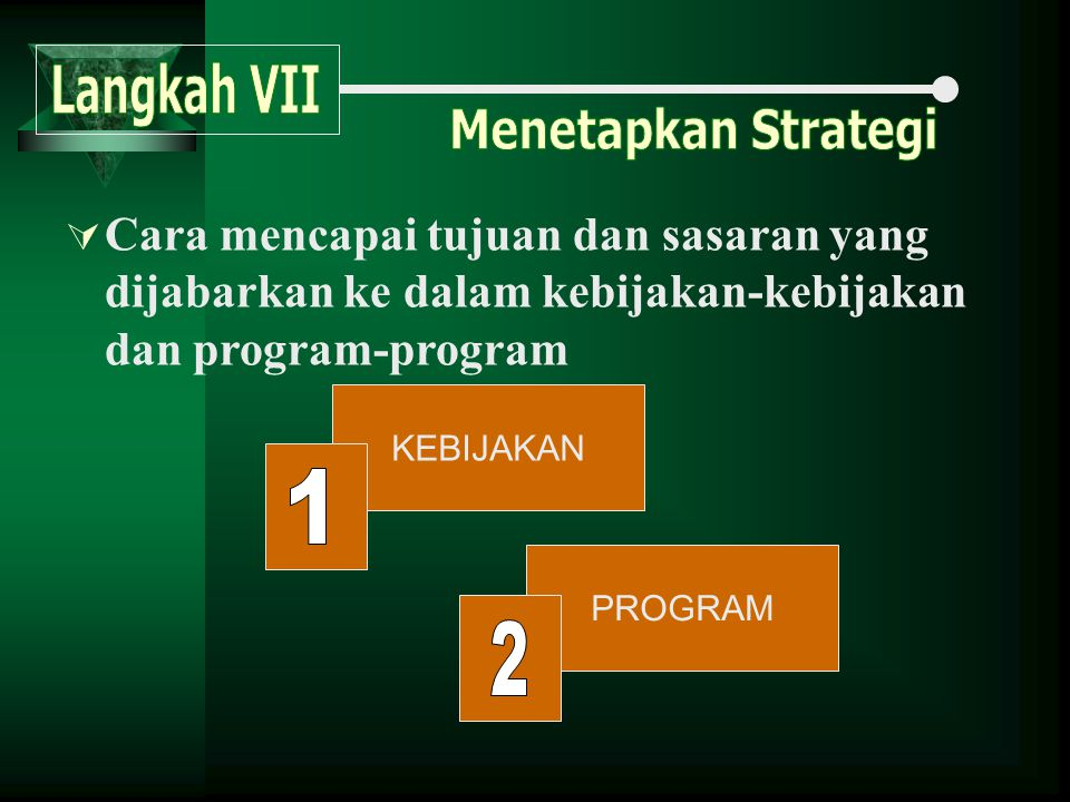 Langkah VII Menetapkan Strategi