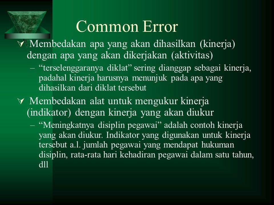 Common Error Membedakan apa yang akan dihasilkan (kinerja) dengan apa yang akan dikerjakan (aktivitas)