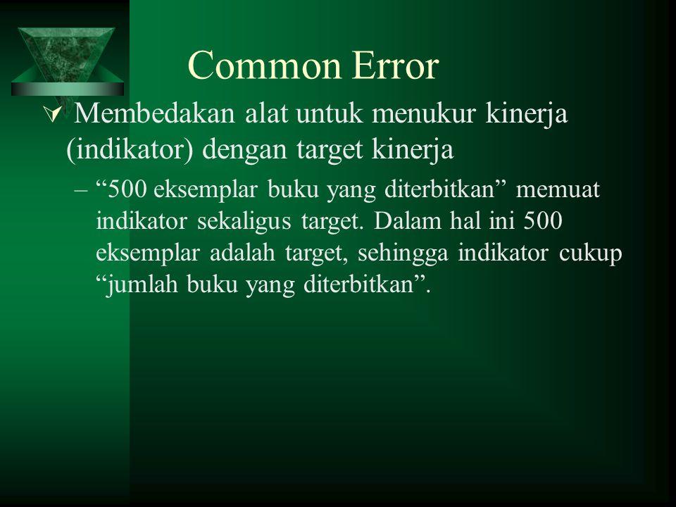 Common Error Membedakan alat untuk menukur kinerja (indikator) dengan target kinerja.