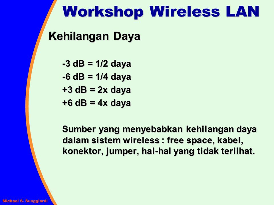 Workshop Wireless LAN Kehilangan Daya -3 dB = 1/2 daya